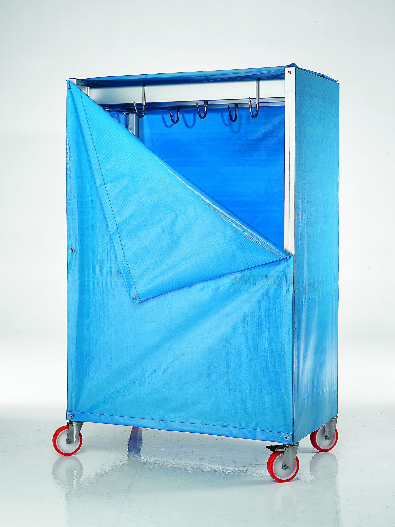 carrello portacarne con telo blu formato basso