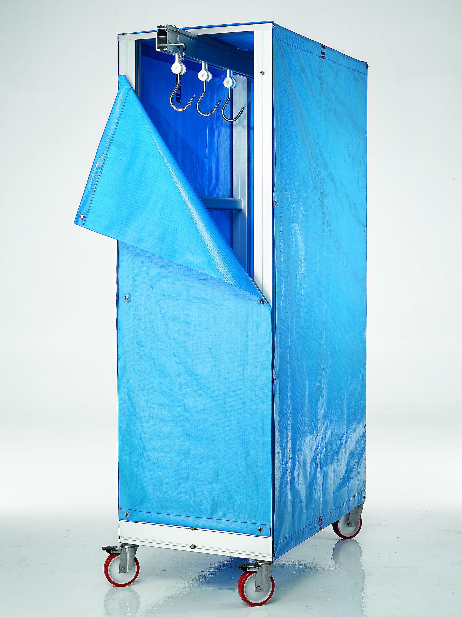 carrello porta carne con telo blu formato alto