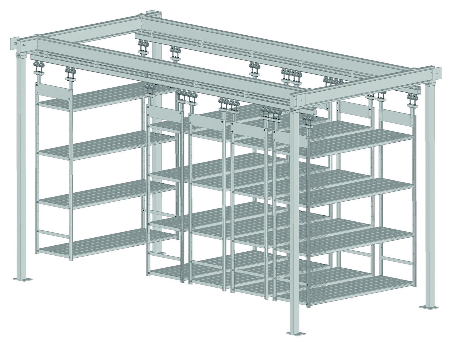 esempio di scaffalatura aerea modulare su montanti
